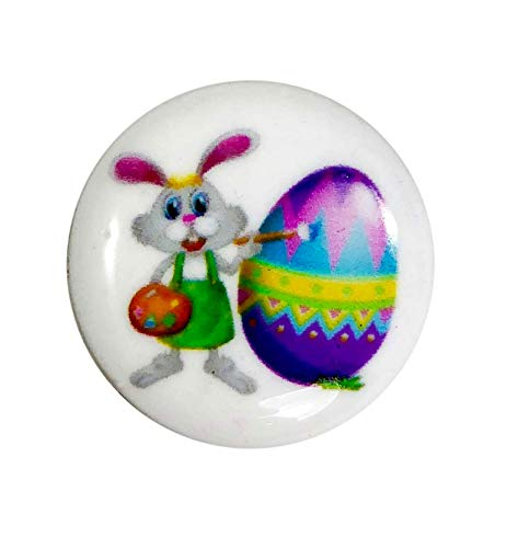 (Snap Charm Easter Bunny and Egg Painted Enamel 20mm, 3/4