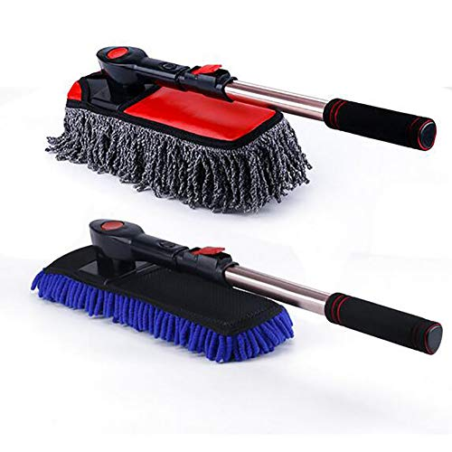 Net Extra Long Handle - JINER Car Wash Brush Chenille Soft Brush Microfiber Wax Tow Mop and Water Brush Retractable Long Handle Washing Brush Suitable for Bathroom, Kitchen, Office, Spider Net Collector and Floor Plate