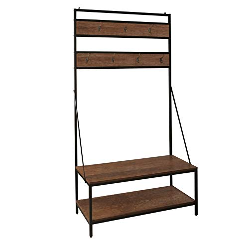 M&W Coat Rack, Rustic Hall Tree, Entryway Shoe Bench Furniture Steady Wooden (Hall Of Metal)