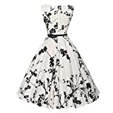 Ladies' Vintage Hepburn Print Printed Waist Dress White Dresses for Women Teen Dresses Women Vintage Floral Bodycon Sleeveless Casual Evening Party Prom Swing Dress (L, White)