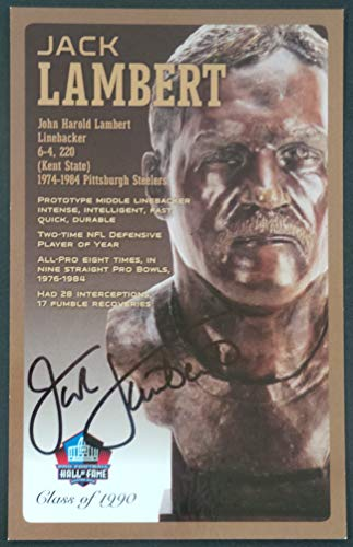 Football Signed Jack Lambert - PRO FOOTBALL HALL OF FAME Jack Lambert Signed Bronze Bust Set Autographed Card with COA (Limited Edition #65 of 150)