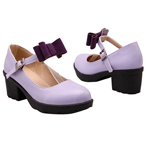 AIYOUMEI Damen Knöchelriemchen Pumps mit Schleife und Schnalle Blockabsatz Mary Jane Schuhe Lila