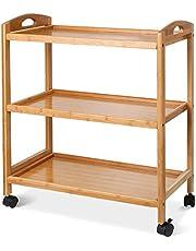 HOMFA Carro de servicio 3 estantes de Bambú Carro de Comida Trolley de cocina Estantería de cocina de Alta Calidad 60.5x33x73cm ( no incluido el tamaño de ruedas )