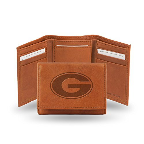 Rico Industries NCAA Georgia Bulldogs Embossed Leather Trifold Wallet, Tan