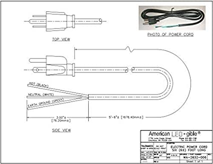 Amazon.com: 6 Foot 3 Prong Power Cord-Trimmed: Home Audio & TheaterAmazon.com