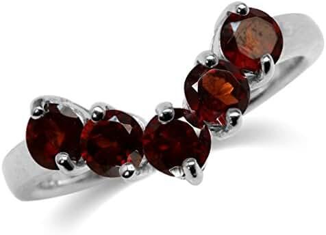1.65ct. 5-Stone Natural Garnet V-Shape 925 Sterling Silver Ring
