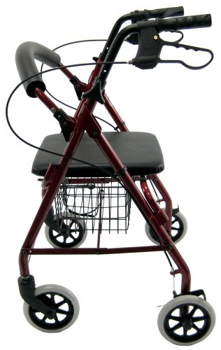 Karman R-4100-BD Aluminum Rollator with Low Seat, Burgund...