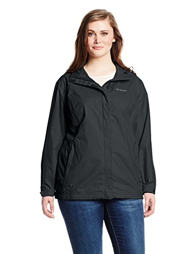 Columbia Women's Plus Size Arcadia II Waterproof Breathable Jacket with Packable Hood, Black, 3X