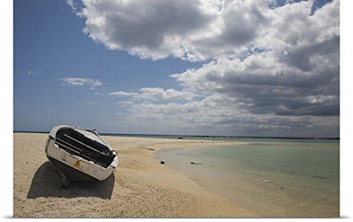 Great Big Canvas Poster Print entitled Boat on the beach, Flic En Flac, Mauritius