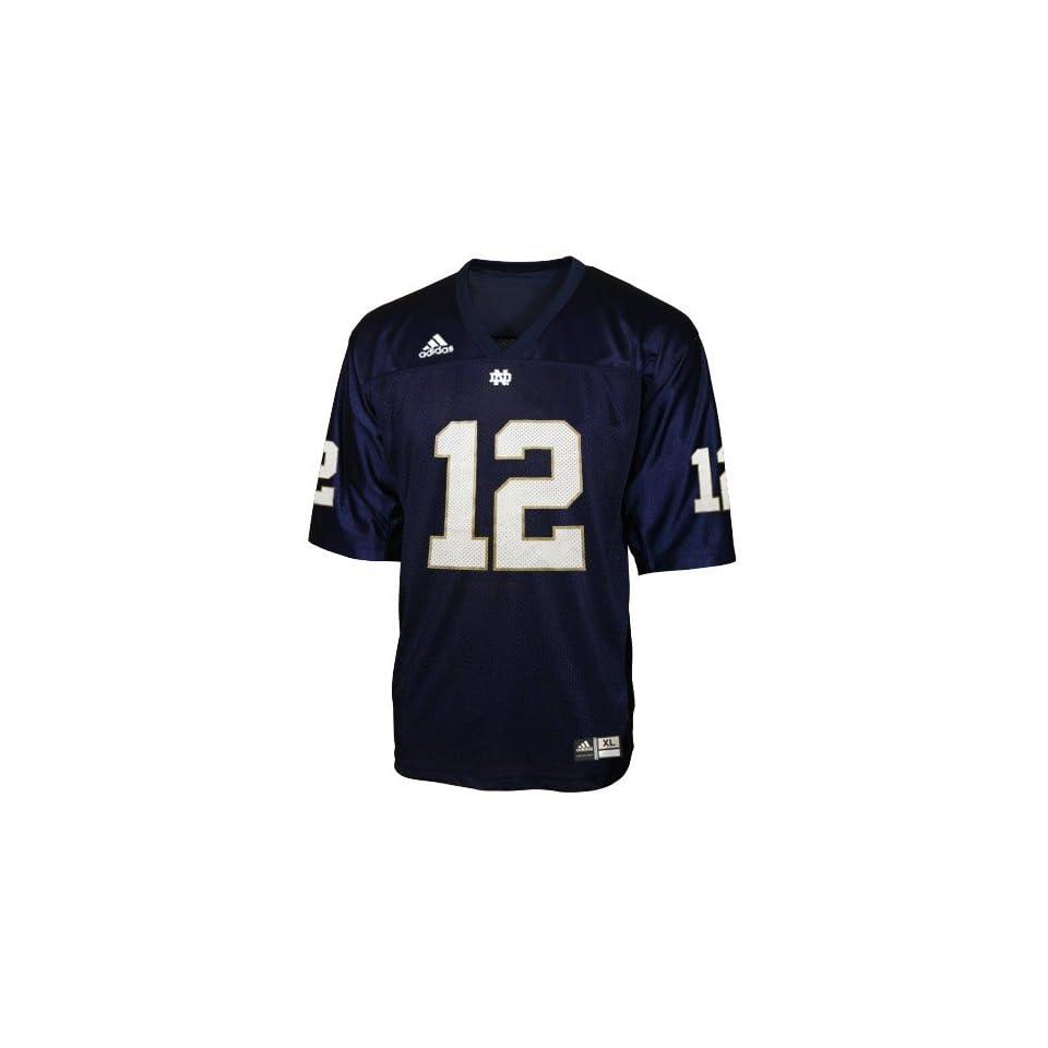adidas Notre Dame Fighting Irish #12 Navy Blue Replica Football Jersey