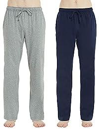 f6d6b4a031a5da Mens Cotton Pajama Pants, Lightweight Lounge Pant with Pockets, Soft Sleep  Pj Bottoms for