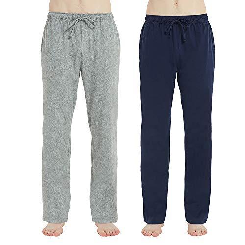 U2SKIIN Mens Cotton Pajama Pants, Lightweight Lounge Pant with Pockets, Soft Sleep Pj Bottoms for Men (Navy & Light Grey Mel, S) ()
