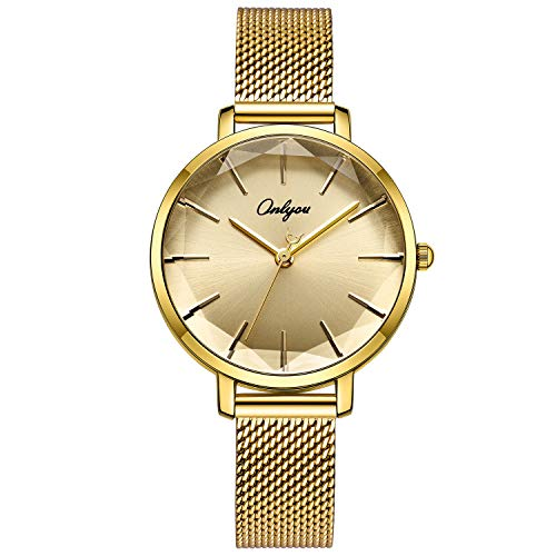 ONLYOU Women's Fashion Watches,Unique Face Design and 30M Waterproof,Analog Quartz Wristwatches with Stainless Steel Mesh Band ()