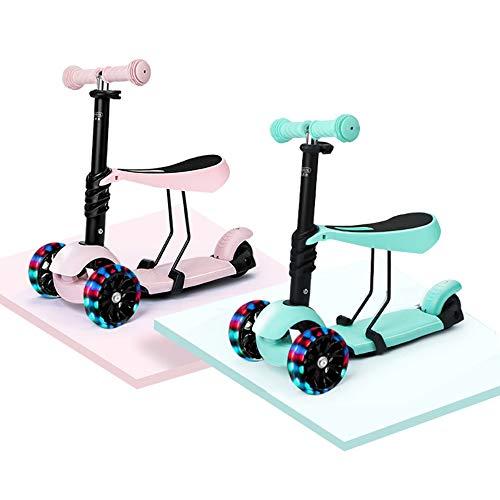 Scooters Yunhoo para niños Scooter con asiento extraíble 2 en 1 Altura ajustable Scooter para niños con ruedas de luz LED Scooters para niños pequeños para niños y niñas