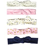 Hudson Baby Baby Girls' Headband, 5 Pack, Arrows/Hearts, 0-24 Months
