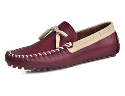 HAPPYSHOP(TM) Men's Genuine Leather Moccasin Business Casual SLIP-ON Loafer Mens Driving Cars Shoes