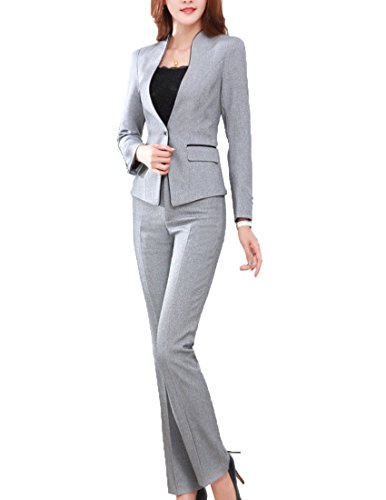 MFrannie Women's Elegant Layer Business OL Coat and Pants Slimming Suit Set Gray-XS