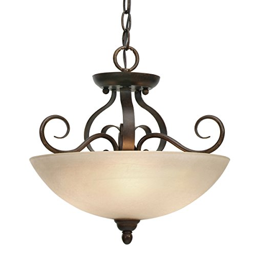 Golden Lighting 1567-SF PC Riverton Convertible Semi-Flush, Peppercorn Finish