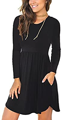 Viishow Women's Long Sleeve Casual Loose T-Shirt Dresses with Pocket