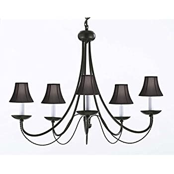 "Wrought Iron Chandelier Chandeliers Lighting With Black Shades! H22"" x W26"""
