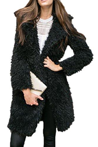 Frente Lana Oversize Superior Calientes De Invierno Largo Abierto Externa Mujeres Cardigan Capa negro Collar PgEqxU