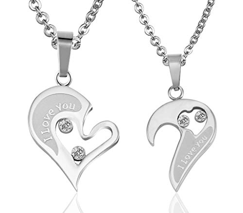 (MoAndy Pendant Necklace with Stainless Steel Chain Stainless Steel Necklace Unisex Pendant Necklace Hollow Half Heart I Love You Engraved Cubic-Zirconia Silver)