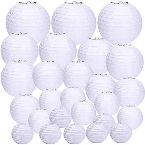 Round Paper Lanterns 12 Pieces - Livder 26 Pieces White Round Paper Lanterns, Assorted Sizes Chinese/Japanese Paper Hanging Ball Lantern for Wedding Party Decorations, 4 6 8 10 12 Inch Diameter