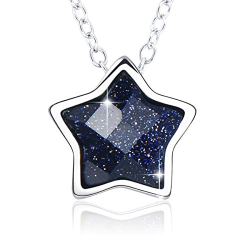 (SIMPLOVE Black Star Necklace for Women, 925 Sterling Silver Five Point Star Pendant Necklace 15.5