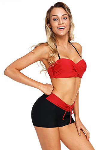 La vogue Bikini Set Damen Push Up Neckholder Bandeau Bademode Rot iym7yQW