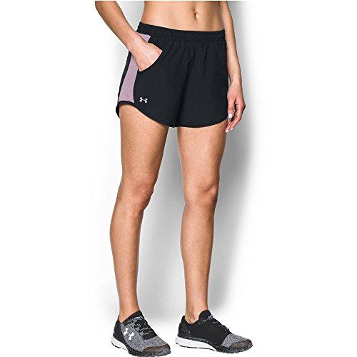 Fresh Short (Under Armour Women's Fly-By Shorts, Black/Fresh Orchid, Medium)