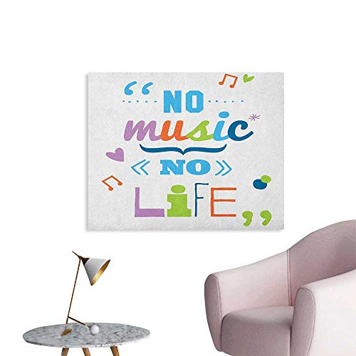 Anzhutwelve Quotes Wall Sticker Decals No Music Space Poster No Life Fun Cheering Saying Musical Key Doodles Style Artwork Print W36 xL32