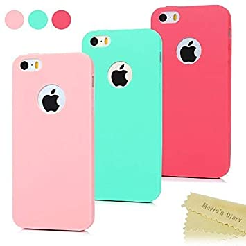 3x Funda iPhone SE, Carcasa iPhone 5S Silicona Gel - Maviss Diary Mate Case Ultra Delgado TPU Goma Flexible Cover para iPhone 5/5S/SE - Rojo, Rosa ...