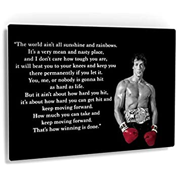 Smile Art Design Rocky Balboa Wall Art Metal Print Motivational Quote Hope Artwork Boxing Sylvester Stallone Living Room Home Decoration Made In The