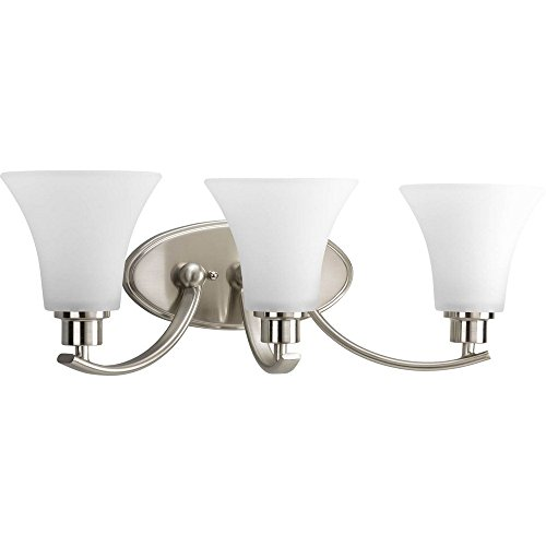 (Progress Lighting P2002-09 Joy Collection 3-Light Vanity Fixture, Brushed Nickel)