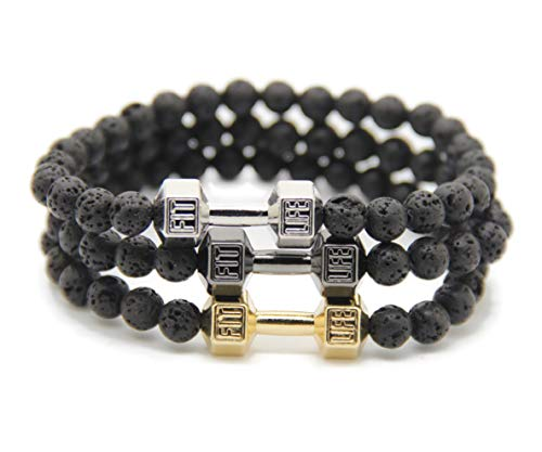 - 6mm Black Lava Stone Beads with Mix Color Alloy Metal Dumbbell Fitness Fashion Barbell Charm Bracelets for Men's Gift