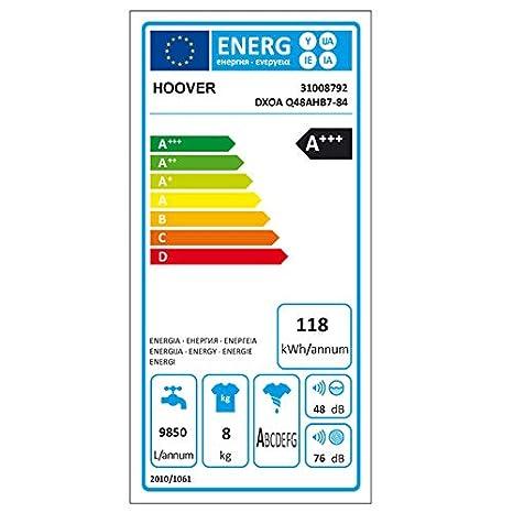 Hoover Lavadora 8 kg a + + + 1400 U/min (técnica de vapor, ahorro ...