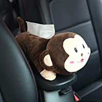Coromose Car Tissue Box Car Hanging Seat Back Type Car Shade Block Cartoon Cute Interior Auto Accessories Tissue Box Big face Monkey