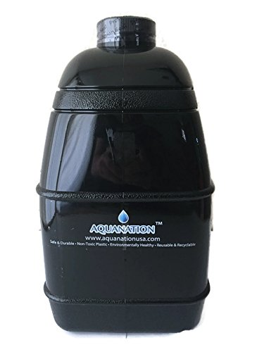 1 Gallon BPA FREE FDA Approved Reusable Plastic Drinking Square Water Big Mouth 'Dairy' Bottle Jug Container with Handle Holder - Made in USA (Solid Black)
