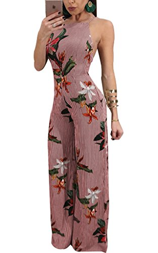 Remelon Womens Spaghetti Strap Floral Stripe Print Backless Tie up High Waisted Wide Leg Jumpsuits Long Romper