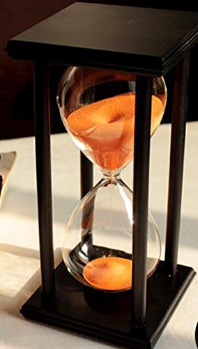 60 Minutes Hourglass Timer Creative Gifts Room Decor Hourglass (black frame orange sand) (Hourglass Large)