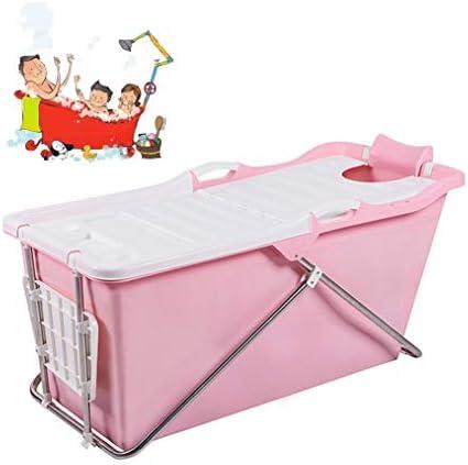折りたたみバスタブ GYF 折りたたみ大人用浴槽 ポータブルプラスチック浴槽 座るカバー付き ホームアダルト 子供用入浴浴槽ベビースイミングビッグタブ 2色折りたたみ式バスタブ (Color : Pink)