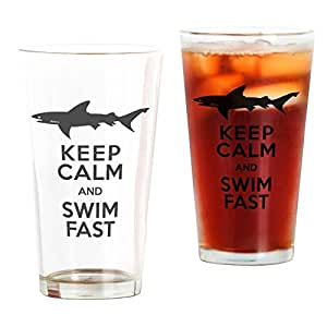 CafePress - Sharks! Keep Calm And Swim Fast - Pint Glass, 16 oz. Drinking Glass