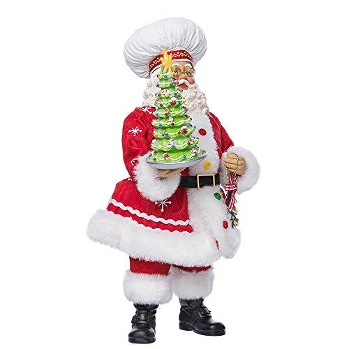 Kurt Adler 10-Inch Fabriché Chef Santa Holding Christmas Tree Cake
