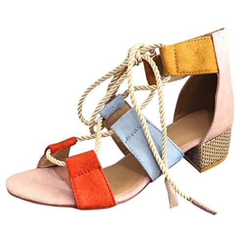 - PAQOZ Women's Flats Sandals, Ladies Elegant Strap Mixed Color Lace Up Square Heel Roman Shoes(Pink,36)