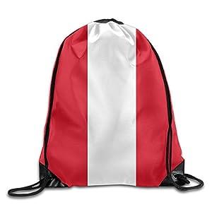 Peruvian Flag Men Lightweight Drawstring Backpack Gymbag Gymsack String Sackpack Knapsack For Outdoor