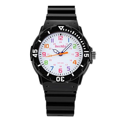 Kids Watches 50M Daily Waterproof Time Teacher Children Girly Boys Wrist Watch Black by DistrictMaster