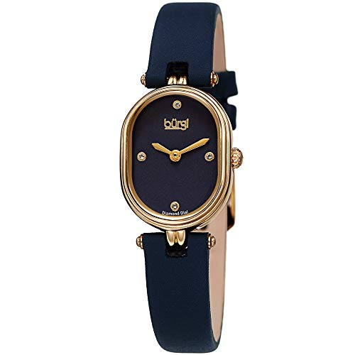 Burgi Designer Women's Watch – Blue Satin Over Genuine Leather Strap, 4 Genuine Diamond Markers, Glossy Dial, Polished Oval Bezel - BUR229BU