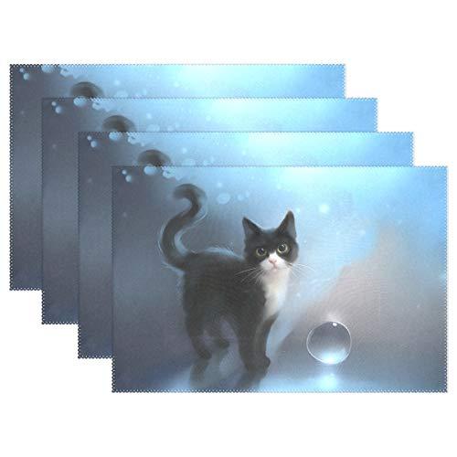 (HoDeColor Cute Tuxedo Cat Placemats Table Mat Set of 4, 12