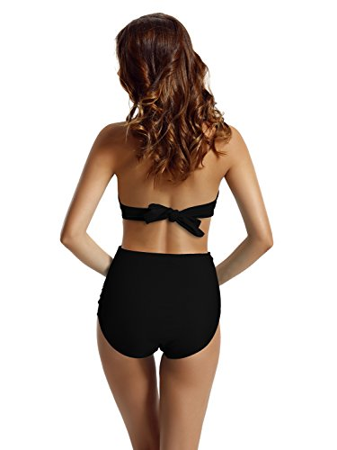 Zeraca Women's Retro Halter Push up High Waisted Bikini Swimsuit (S6 34B, Black)