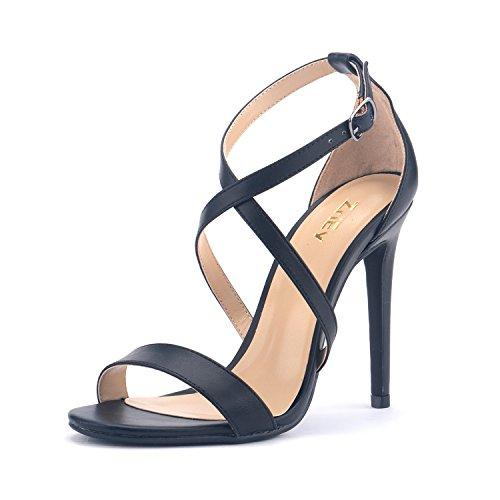 ZriEy Women Stiletto Sandals Cross Strappy High Heels 11CM Open Toe Bridal Wedding Party Shoes Black Size 8